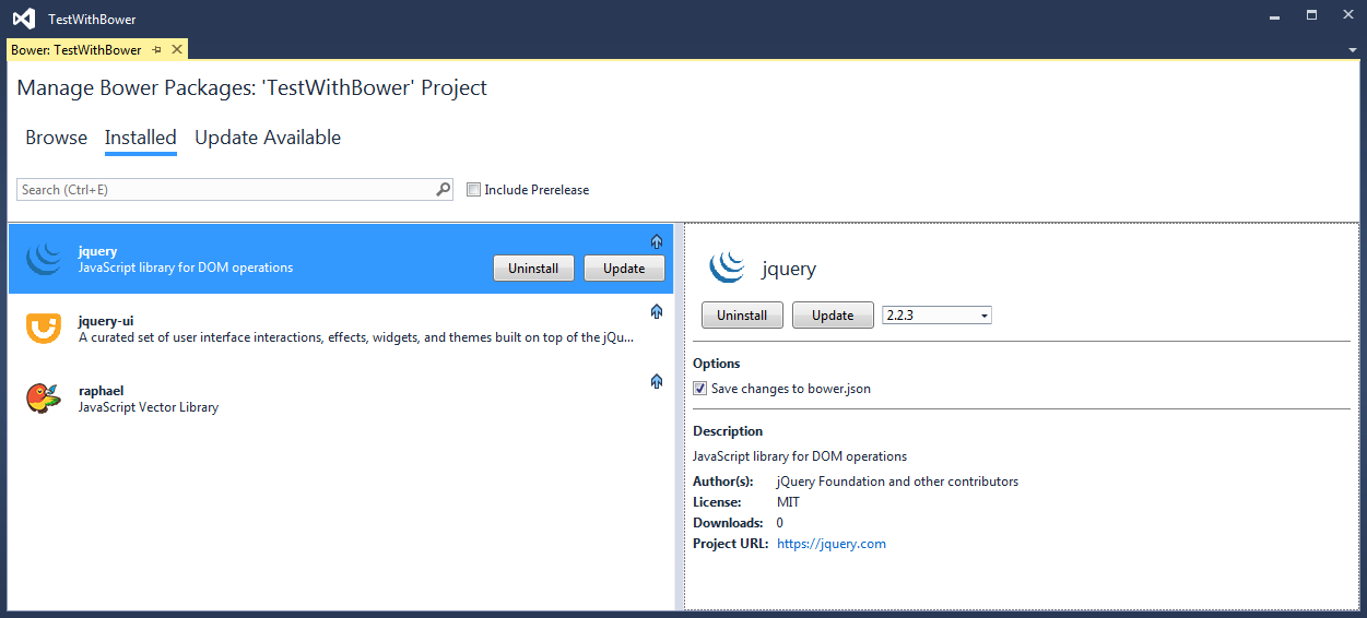 Manage Bower packages Installed